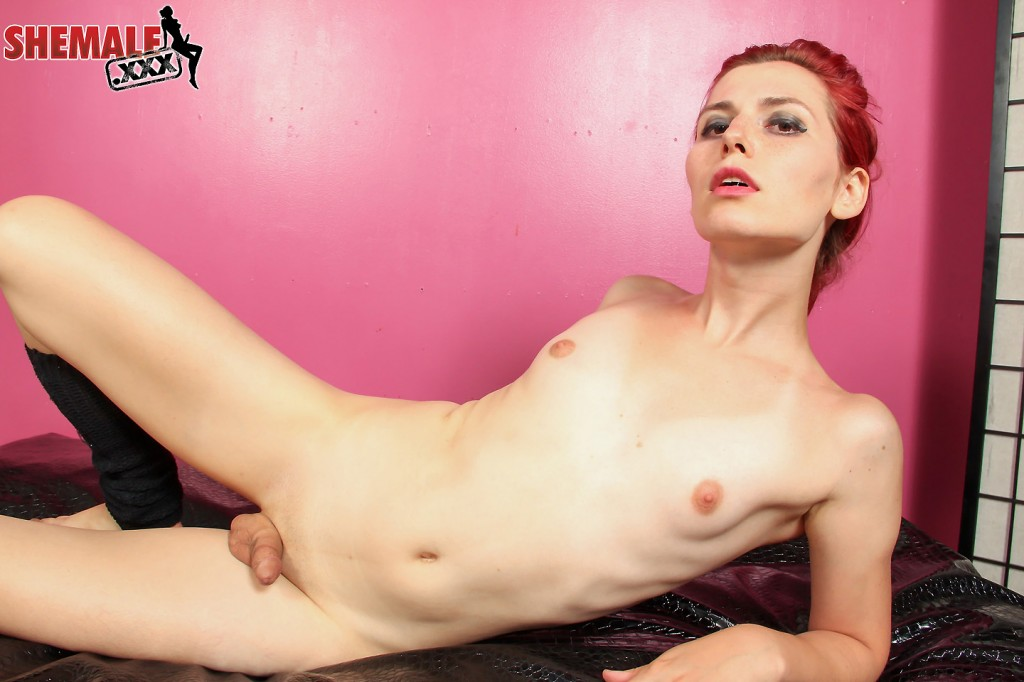 Redhead TGirl Korra del Rio strips and strokes on Shemale XXX